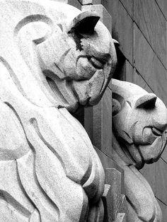 Art Deco Stone Lions