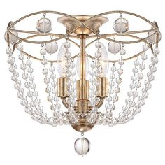 Waverly 3 Light Distressed Twilight Ceiling Mount Material: Steel Crystal Finish: Distressed Twilight