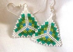 Triangle+Earrings+Beadwork+Dangle+Cool+by+ThreeMusesCreations,+$15.00