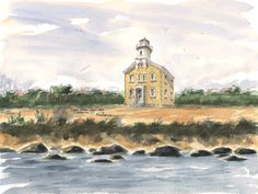 Great Captain's Island, Greenwich Watercolor prints and note cards of over 250 lighthouses all over the USA.  Start your collection today. Original paintings by sailor/artist  Alfred La Banca, Darien, CT
