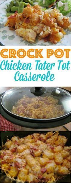 Gorgeous Crock Pot Cheesy Chicken Tater Tot Casserole Recipe #crockpot #recipes #food