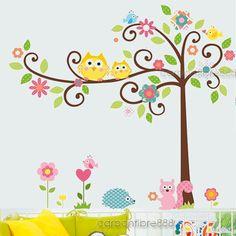 Large OWL SCROLL TREE Wall Stickers Removable Animal Art Decal Kids Baby Nursery | eBay