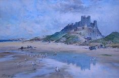 Buy Thomas Swift Hutton Bamborough Castle and other Victorian paintings and watercolours at James Alder Fine Art Northumberland Coast, Victorian Paintings, 2d Art, Landscape Paintings, Castles, Restoration, Art Gallery, British, Watercolor