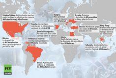 Infografía: Las protestas que conmocionaron al mundo en 2014 - RT