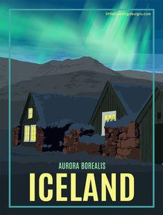 Iceland Aurora Borealis (Northern Lights) - Vintage Travel Poster #vintagetravelposters #vintageposters
