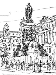 FINEARTSEEN - View O'Connell Street, Dublin by Brian Keating. A black and white original ink drawing of the city of Dublin. Available on FineArtSeen - The Home Of Original Art. Enjoy Free Delivery with every order. << Pin For Later >> Dublin, Free Delivery, Find Art, Taj Mahal, Original Art, Around The Worlds, Ink, Black And White, The Originals