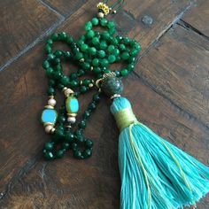 Green Agate and African Turquoise long necklace with a hand made cotton tassel from Lakshmi Custom Jewelry for $85.00