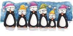 Original watercolor painting whimsical birds penguin glitter hats snow scenes #IllustrationArt