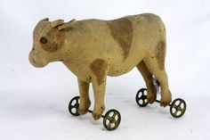 Antique Early German Steiff Cow Pull Toy