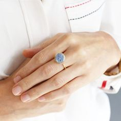 Zartha Baby Blue Gold Plated Druzy Open Ring for the adorable lady.  #coolhandmaderings #handmaderingswithstones