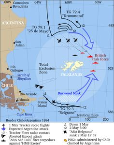 ARA General Belgrano sank by HMS Conqueror - Wikipedia, the free encyclopedia Military Tactics, Falklands War, Military Insignia, British Government, Royal Marines, Military Pictures, South America Travel, Submarines, Historical Maps