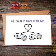 Will you be my player number two? Last days for Valentines Day card orders to arrive in time  #willyoubemyplayer2 #willyoubemyvalentine #valentinescard #nerdygifts #geeky #etsy #etsylove #etsyvalentines #handmade #diy #pixelart #8bit #pacman #16bit #geekyvalentine
