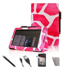 "FINTIE® Hot Pink Giraffe Pattern Pattern PU Leather Folio Case Cover Value Package with Free Screen Protector/Stylus/USB cable for Amazon Kindle Fire 7"" Tablet Emma"