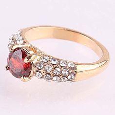 14k Gold Filled Round Cut Garnet Crystal Size 9.0 Ring