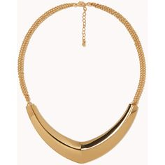 FOREVER 21+ PLUS SIZES Boomerang Bib Necklace ($8.80) ❤ liked on Polyvore featuring jewelry, necklaces, accessories, gold, gold jewellery, forever 21 jewelry, double strand gold necklace, double strand necklace and polishing gold jewelry