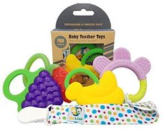 Ike & Leo Teething Toys: Baby Infant and Toddler WITH Pacifier Clip / Teether Holder Best for Sore Gums Pain Relief Eco Friendly BPA Free & Freezer Safe Set of 4 Silicone Teethers