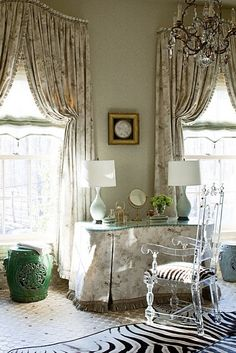 Barry Dixon Design - those moments when more is more. They added a tiny box pleated piping edge to these curtains. Window Coverings, Window Treatments, Dressing Table Vanity, Dressing Tables, Dressing Rooms, Vanity Tables, Lucite Chairs, Interior Decorating, Interior Design