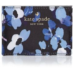 kate spade new york Cedar Street Floral Card Case (925 MXN) ❤ liked on Polyvore featuring bags, wallets, black multi, slim card case wallet, card case wallet, slim wallet, hardware bag and kate spade bags