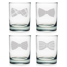How awesome are these Bow Tie glasses? Tie one on with this Set of 4 Double Old Fashioned Glasses.
