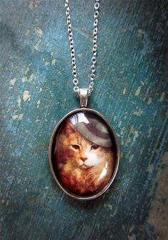 Cat Necklace - Gifts for Cat Lovers - Silver Necklace - Orange Cat - Animal Jewelry - Photo Pendant - Vinnie Valentino