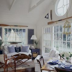 Seaworthy Style cottage living room with white paneling & navy accents – great nautical or ocean look Fresh Living Room, Coastal Living Rooms, Cottage Living, Coastal Cottage, Coastal Decor, Living Room Decor, Coastal Colors, Coastal Bedrooms, Dining Room