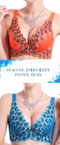 US$12.49+ Free shipping. Peacock Design Embroidery Plunge Gather Thin Bras. #shops #style #ideas #lingerie #bra #victoriasecret #diy #plussize #outfit #underwear #cups #guide #fitness #cheap #pattern #design #fashion #lace