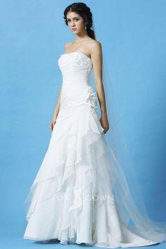 strapless a-line ruched bodice asymmetrical layered ruffle skirt wedding dress