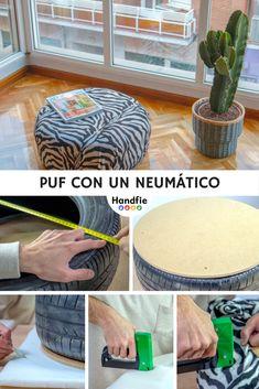Puf con un neumático ➜  Recicla una rueda y hazte un puf otomano, redondo y bajito, para el salón. #Puff #Neumático #Reciclaje #Rueda #Tapizado #DIY #Decoración #Bricolaje #Handfie