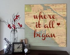 Anniversary gift: Vintage map with a heart where you met and fell in love. Custom Canvas Wall Art - MUST HAVE! Craft Projects, Projects To Try, Diy And Crafts, Arts And Crafts, Diy Cadeau, My Sun And Stars, Custom Canvas, Custom Map, Idee Diy