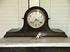 New Haven Tambour Mantel Clock Mahogany Clock Harmonious Tambour Clock Chime…
