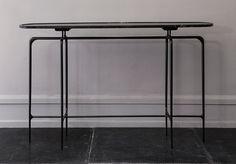 Bridger cast iron base console from Oliver Gustav Studio, Copenhagen Design Furniture, Table Furniture, Home Furniture, Plywood Furniture, Chair Design, Design Design, Painted Furniture, Sideboard Cabinet, Wooden Stools