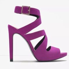 NIB Zara Purple/Fuschia Sandal High Heels in box!! 😉NWT ZARA PURPLE HIGH HEEL SANDALS WITH BUCKLE SIZE 6.5 & 7.5... SOLD OUT  High heeled sandals. Wraparound straps at the front. Ankle buckle fastening. Stiletto heel. NEW IN ORIGINAL BOX!!! Boxes are a bit damaged from being in storage.  Heel height of 11.5 cm. COMPOSITION:  UPPER: 100% POLYESTER  LINING: 100% POLYURETHANE  SOLE: 100% POLYURETHANE THERMOPLASTIC Zara Shoes Heels