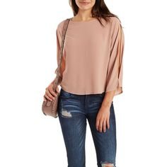 Charlotte Russe Textured Chiffon Cold-Shoulder Dolman Sleeve Tee ($17) ❤ liked on Polyvore featuring tops, t-shirts, pale mauve, slouchy tee, chiffon t shirt, short sleeve tops, charlotte russe and cut out shoulder tee