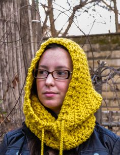 Fern Cowl Citrus Hooded Cowl with Tassels by courtneyannabanana, $40.00