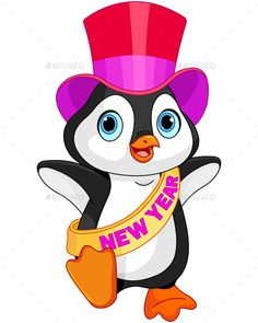 Buy New Year baby Penguin by Dazdraperma on GraphicRiver. Illustration of New Year baby penguin. Penguins And Polar Bears, Baby Penguins, Penguin Baby, Penguin Animals, Baby Animals, Cat Vector, Vector Free, Christmas Place Cards, Merry Christmas