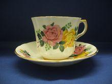 Royal Eton Cup & Saucer Pink Yellow Roses Staffordshire England Bone China