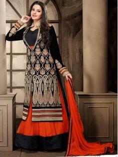Black with Orange Lehenga Style Anarkali Suit