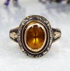 Georgian 9ct Rose Gold Beautiful Ornate Gothic Citrine Paste Ring / Size M 1/2