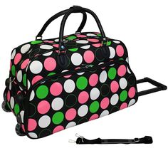 f54c2f0915 Girls Pink Green Polka Dots Pattern Wheeled Duffle Bag Upright Rolling  Duffle Geometric Dotted Carry Duffel Travel Wheeled Duffel Wheels Wheeling