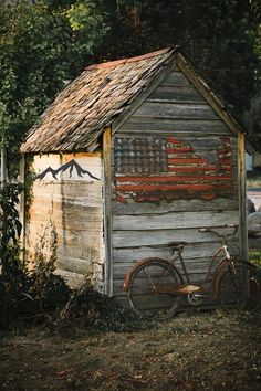 Rustic Wood Shed Weathered Shed American Flag Country Shed Old Bicycle Country Print Home Decor Art Wall Art Country Wall Art Utah Rustic Shed, Wood Shed, Rustic Barn, American Flag Painting, American Flag Art, American Country, Country Barns, Flag Country, Country Life