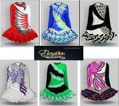 Some of the latest trends in Irish Dance solo dresses - asymmetry, dropped waist, graphic motifs and short skirts in ruffles, pleats or panels