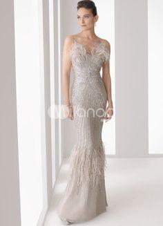 Silver Mermaid Trumpet Sweetheart Floor Length Satin Prom Dresses  Price:US  $132.99