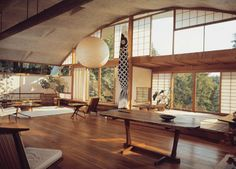 George Nakashima japanese style house with rice paper screens and carp kite