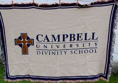 Campbell University Divinity School Woven Tapestry Throw Blanket Cross Purple #