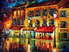Night Montmartre is a painting by Leonid Afremov made in the best impressionism and abstract art traditions. Its attractive price and bright colors will certainly make you purchase it. Paris At Night, Modern Art Deco, Pointillism, Oil Painting On Canvas, Canvas Paintings, Famous Artists, New Art, Original Paintings, Modern Paintings
