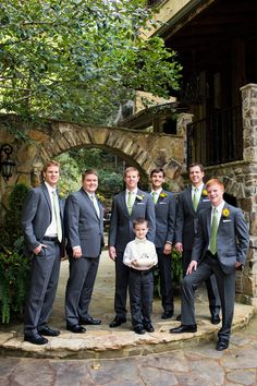 Groom and Groomsmen in Slate Suits | Cariad Photography | See More: http://heyweddinglady.com/spring-green-southern-wedding-with-a-travel-theme/