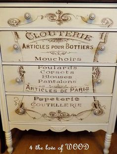 vintage french typography | ... French Typography Dresser is the creation of Kristy from 4 The Love of