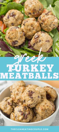 Greek Turkey Meatballs are a delicious healthy dinner. Put them on a salad, in a sandwich, or eat them on their own. Paleo, and keto friendly! Healthy Turkey Recipes, Healthy Gluten Free Recipes, Lunch Recipes, Whole30 Recipes, Paleo Menu, Protein Recipes, Healthy Appetizers, Yummy Recipes, Easy Meal Prep
