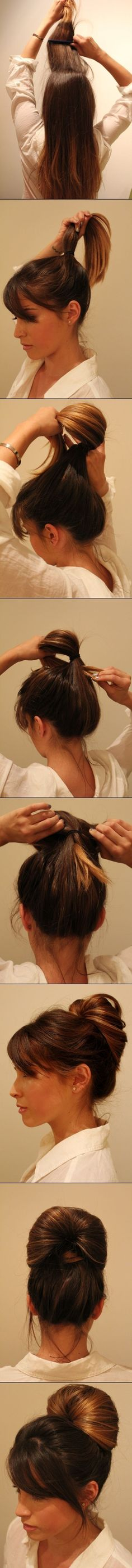 This sleek do only takes a minute and looks professional enough for work. | Hairstyling Hacks