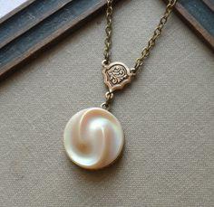 Vintage German Glass Button Necklace Vanilla by TimelessTrinkets